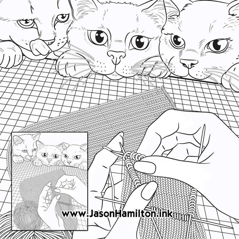 Knitting Swatch Cats Coloring Page Pdf Instant Download Etsy
