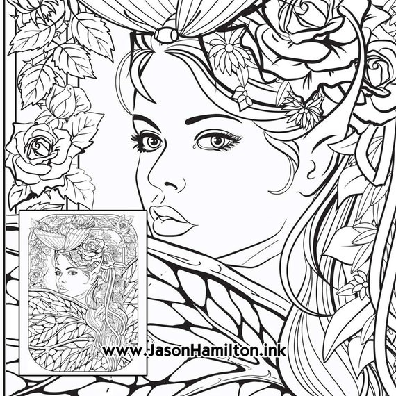 Butterfly Fae Coloring Page PDF Instant Download Coloring Etsy