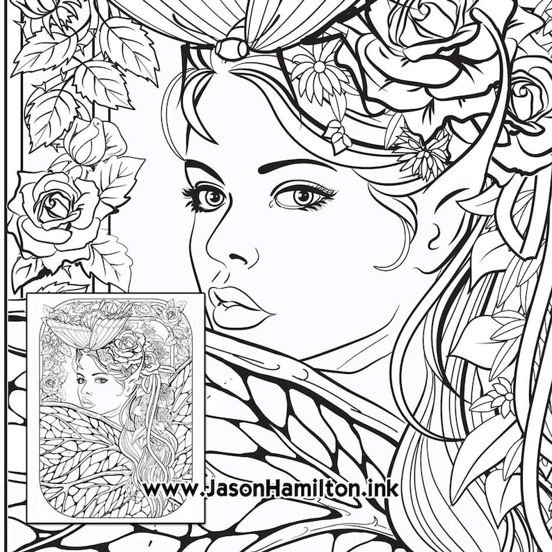 Butterfly Fae coloring page PDF instant download Coloring ...
