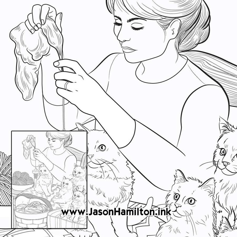 Mom Knitting Coloring Page Pdf Instant Download Coloring Etsy