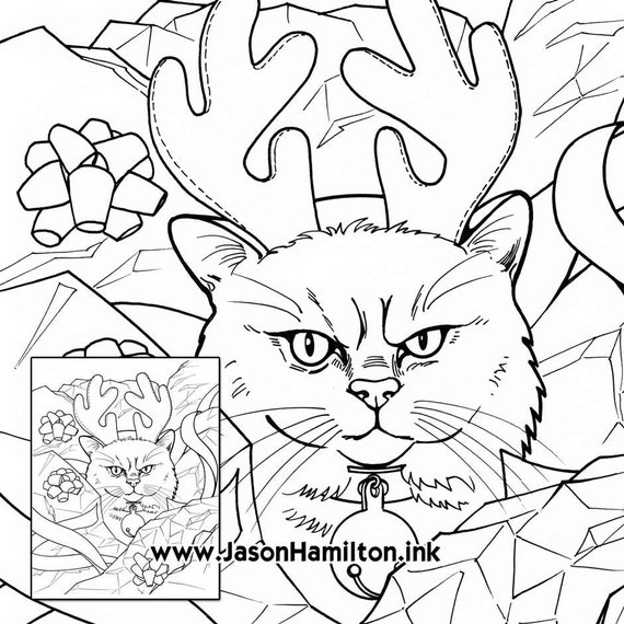 Grumpy Reindeer Cat Coloring Page Pdf Instant Download Etsy