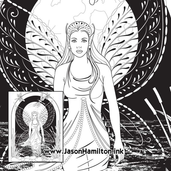Moon - Printable Adult Coloring Page from Favoreads (Coloring book ... | 570x570
