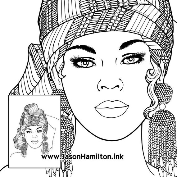 Jamaica Woman Coloring Page With Coloring Tutorial Pdf Instant Download Coloring Pages Adult Coloring Pages Coloring Books For Adults