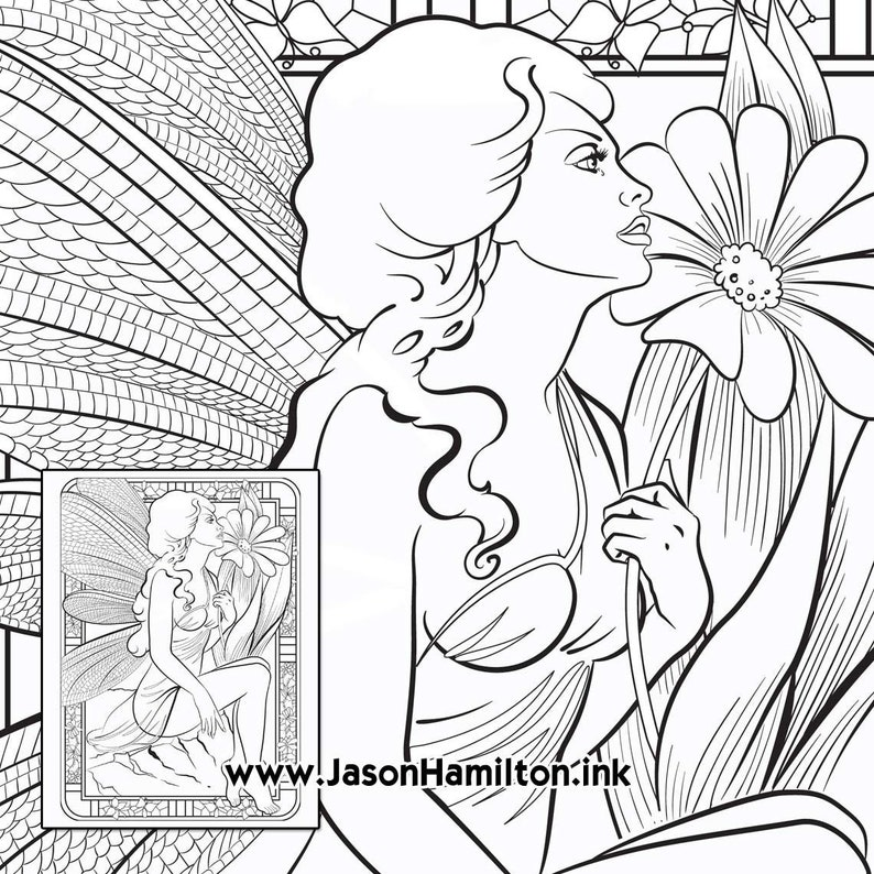 Fairy Flower Coloring Page Pdf Instant Download Coloring Etsy