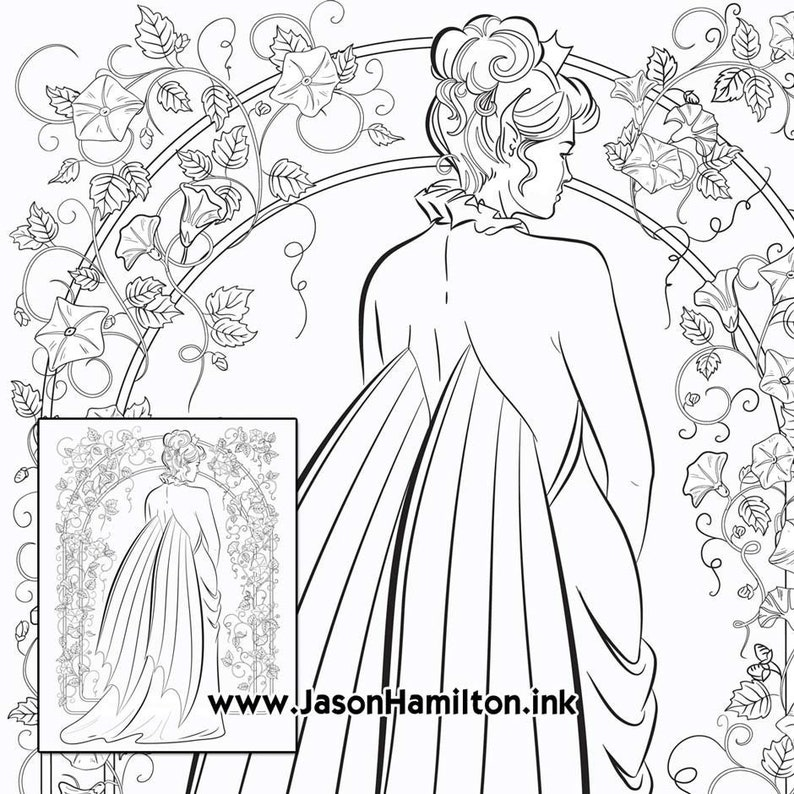 Fairy Queen coloring page PDF instant download Coloring | Etsy