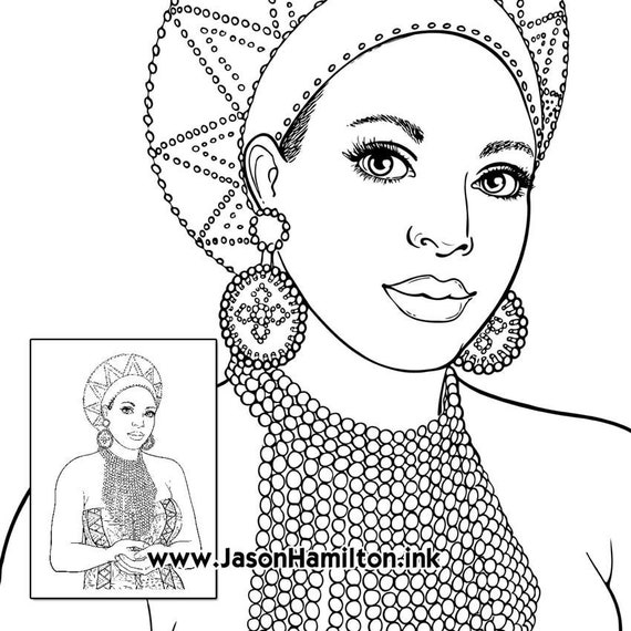 South African Woman Coloring Page With Tutorial Pdf Instant Download Coloring Pages Adult Coloring Pages Coloring Books For Adults