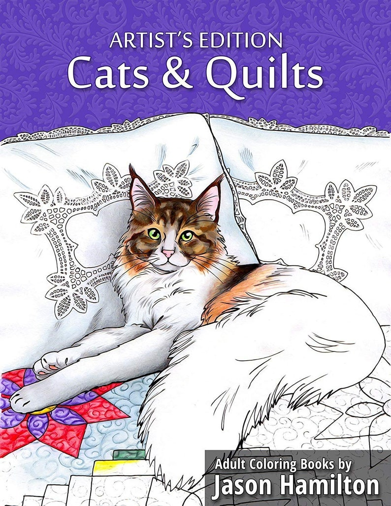 Cats & Quilts Artist's Edition. Adult Coloring Book image 0