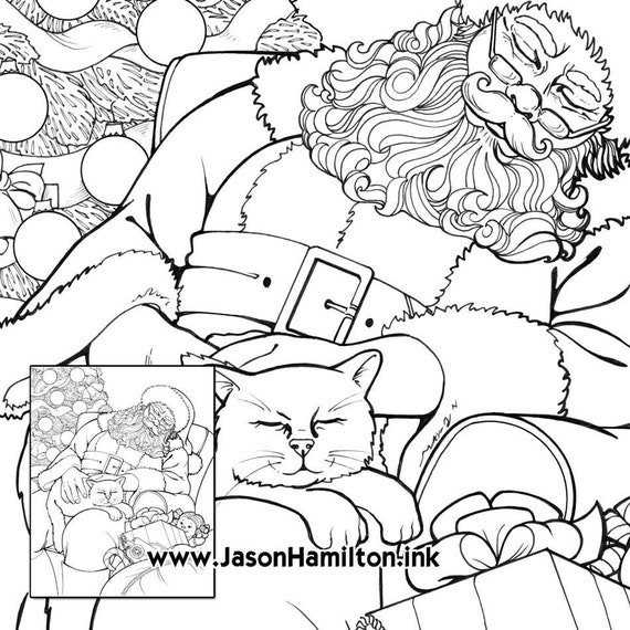 Sleepy Santa And Cat Pdf Instant Download Coloring Pages Etsy