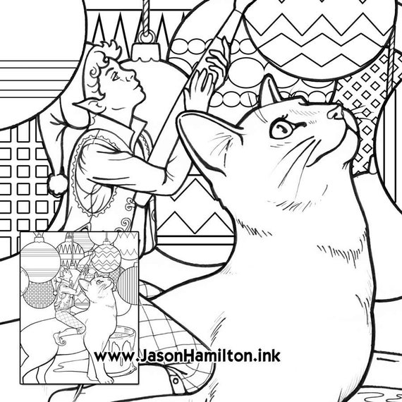 Painting Cat Coloring Page With Tutorial Pdf Instant Etsy