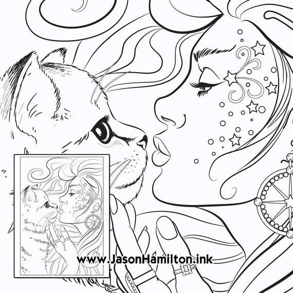 Kitten Kiss Pdf Instant Download Coloring Pages Adult Coloring Pages Coloring Books For Adults
