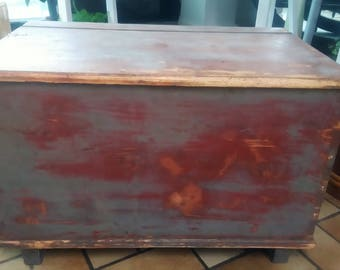 Chest Crate Box Red shabby