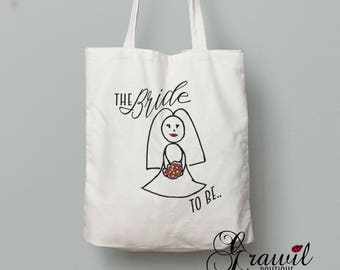 Bride to be tote bag - Shopping bag - Bridal party gift idea - Wedding . Engagement
