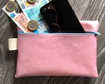 money purse Vinyl clutch bag pencil case Iridescent leather texture vinyl