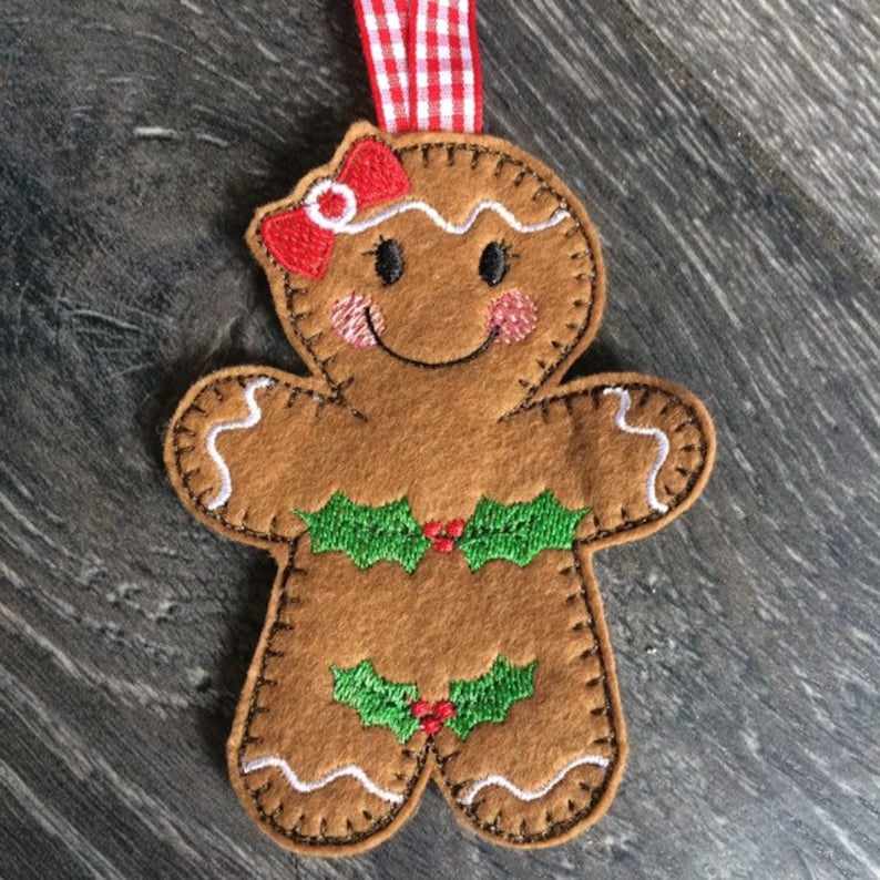 fun adam and eve felt embroidered gingerbread Christmas decorations 4 different designs Cute christmas jumpers cute quirky