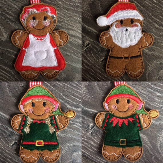 Felt elf gingerbread girl or boy Personalised elf Christmas decoration