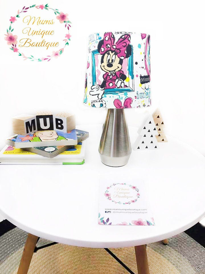 minnie mouse white frame table lamp night light touch lamp. Black Bedroom Furniture Sets. Home Design Ideas