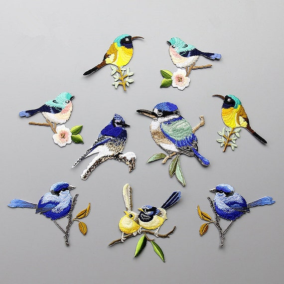 Bordado aves apliques amor aves mano costura DIY ropa | Etsy