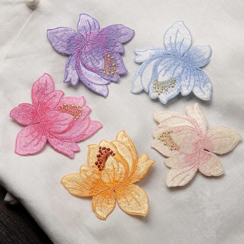 8cm Lotus Applique Flower Cloth Paste Clothing Accessories Diy Etsy