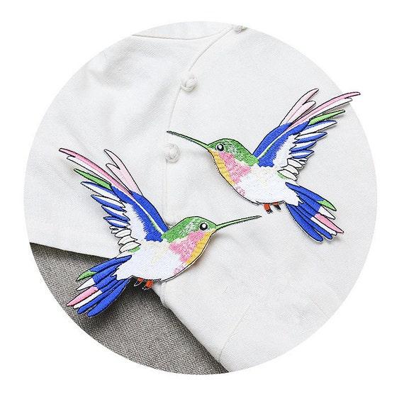 Un par de bordados de aves colibrí amor apliques aves mano | Etsy