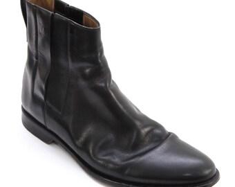 1dfe86e23ea LOUIS VUITTON Boot Men s Black Leather Pull-On Ankle DAMIER Trim Sz 9
