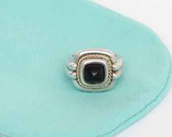 2a20730b1 TIFFANY & CO. Sterling Silver 18kt Gold ONYX Square Cocktail Ring Band Sz  6.25