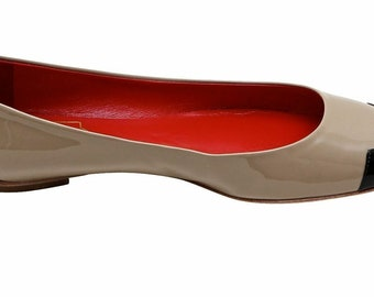 16c8b986294 ROGER VIVIER Ballet Flat Heel Shoe Patent Leather Taupe Black Hello Coco  T.05 37