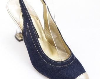 45e677dbe46 ESCADA Pump Blue Leather Slingback Gold Resin Heel Shoe 7B VINTAGE