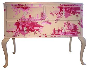 Sample - Red Toile Chest of Drawers