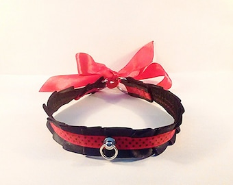 Red and black vegan petplay BDSM collar