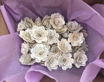 Bulk paper flowers etsy bulk stemless book page paper flowers 100 count 35 or 2 mightylinksfo