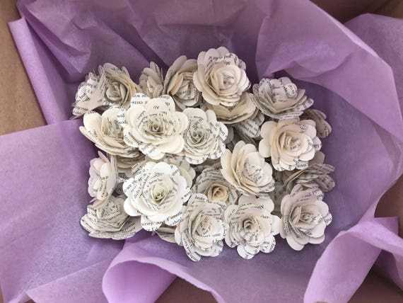 Bulk stemless book page paper flowers 100 count 35 or etsy image 0 mightylinksfo