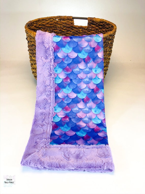 Laguna Mermaid Floral Purple /& Blue Double Sided Minky Blanket or Quilt Nursery Crib Toddler Baby Child Teen Made To Order *