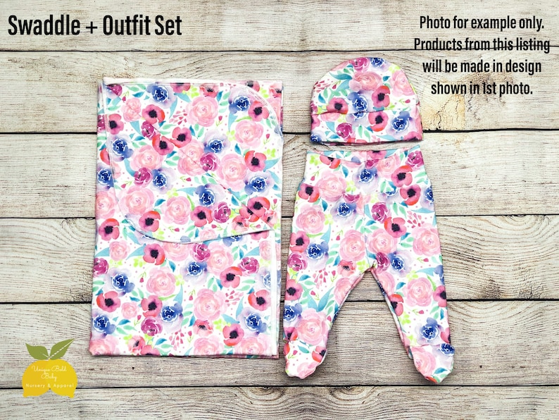 Take Home Outfit Swaddle Blanket Footed Pants Newborn Clothing Swaddle Newborn Outfit Set Baby Hat Beanie Floral Blue Mustard