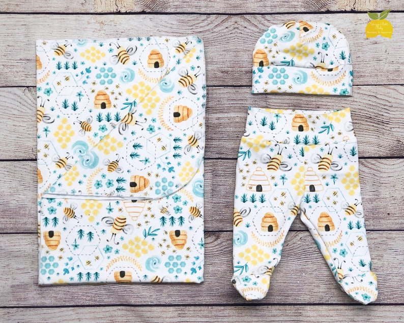Headband Bow Gender Neutral Swaddle Set Swaddle Newborn Outfit Set Honey Bee Yellow Teal Take Home Outfit Footed Pants