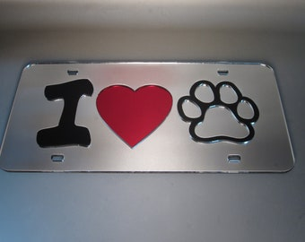 BOSTON TERRIER PAW LOVE HEART PET DOG METAL LICENSE PLATE FRAME TAG HOLDER