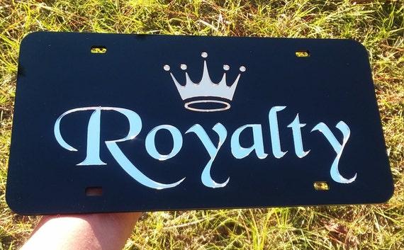 Custom Crown Royalty Queen laser cut acrylic mirror license plate chrome