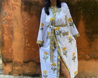 Cotton Kimono Robes for Women Indian Dressing Gown Unisex Cotton Block Print Kimono Robe Lounge Wear Kimono Night Cover Up Robe