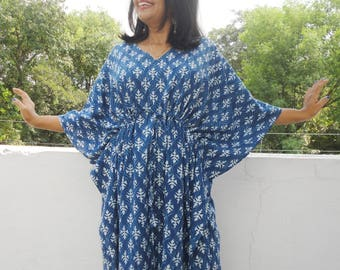 Summer Cotton Kaftan, Blue beach cover loungewear, Indigo Block print Resort wear, Indian blockprint caftan, Moroccan kaftan,Loose Kimono