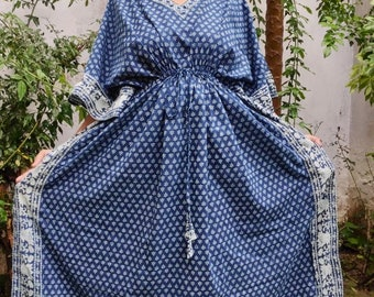 Summer Cotton Kaftan, Blue beach cover loungewear, Indigo Block print Resort wear, Indian blockprint caftan, Moroccan kaftan,Loose Kimono