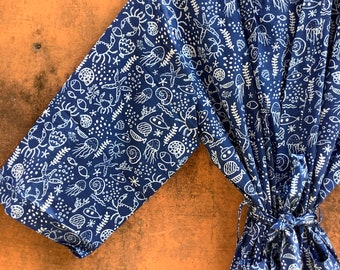Indigo Cotton Kimono Robes for Women Indian Dressing Gown Unisex Blockprint Beach Cover ups Bridesmaid Gifts
