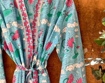 Cotton Kimono Robes for Women Indian Dressing Gown Unisex Blockprint Beach Cover ups Bridesmaid Gifts