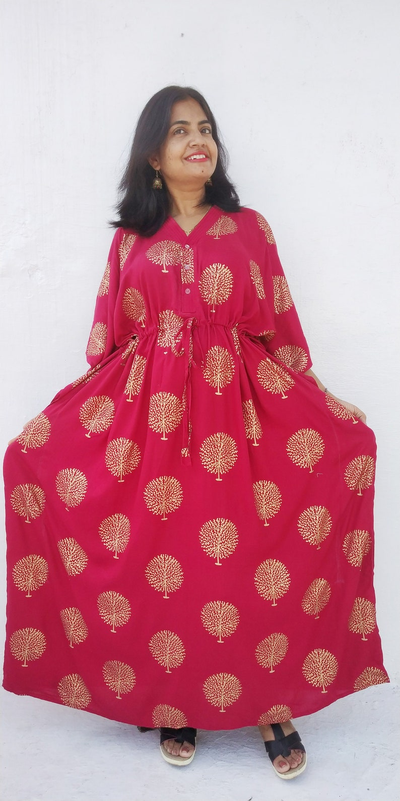 Christmas Dress, Red Maternity kaftan, Plus size kaftan, Plus size  clothing, gift for her, womens clothing, boho dress, caftans for women