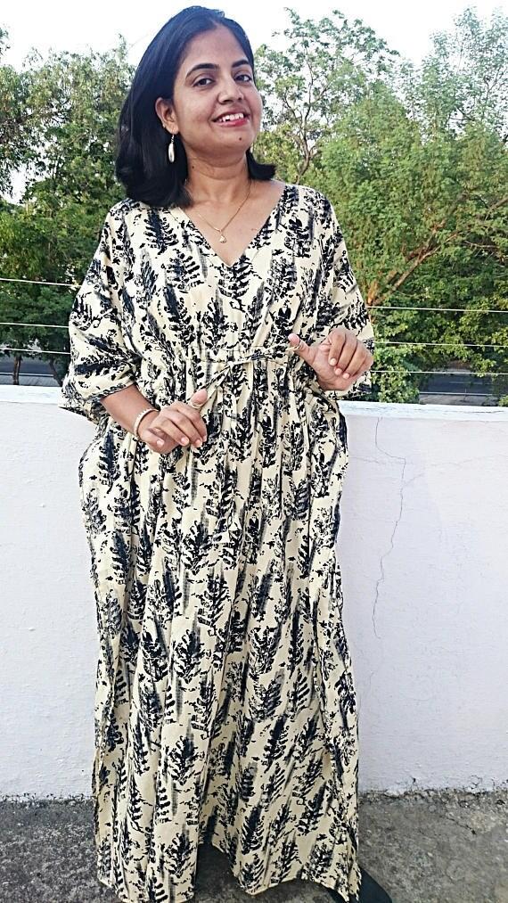 Cotton floral Dress Pregnancy Kaftan Maternity Kaftan Plus size Maternity Cotton Kaftan Hospital Ankle length Caftan Plus size kaftan
