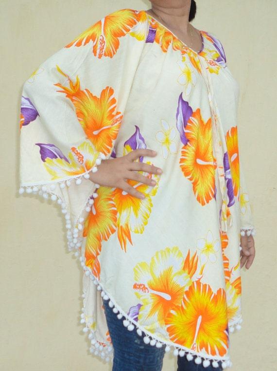 Fern love plus size womens clothing dresses Indian Rayon caftan kaftan poncho Top Shirt Tunic artsy fun 2x xxl xxxl 3x 4x dressy boho hippy