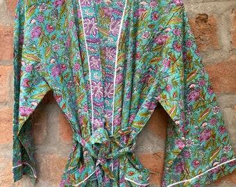 Cotton kimono robe, block print robes for women,Dressing gown, plus sized robes, ,Cotton Kimono, Beach Cover Up, Lounge Wear, Casual wear
