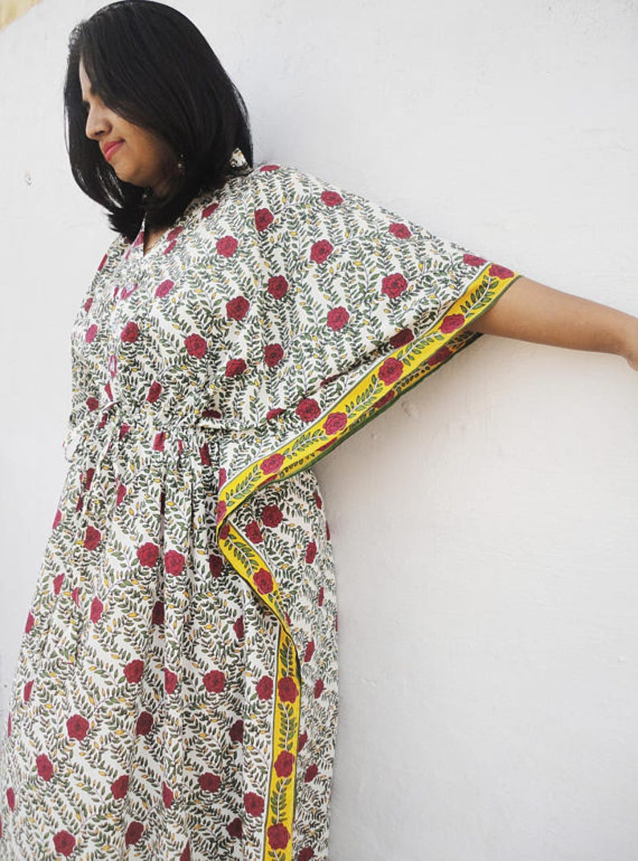 f26a149dc7 Free size multicolored long cotton kaftan Women beach Kaftan | Etsy