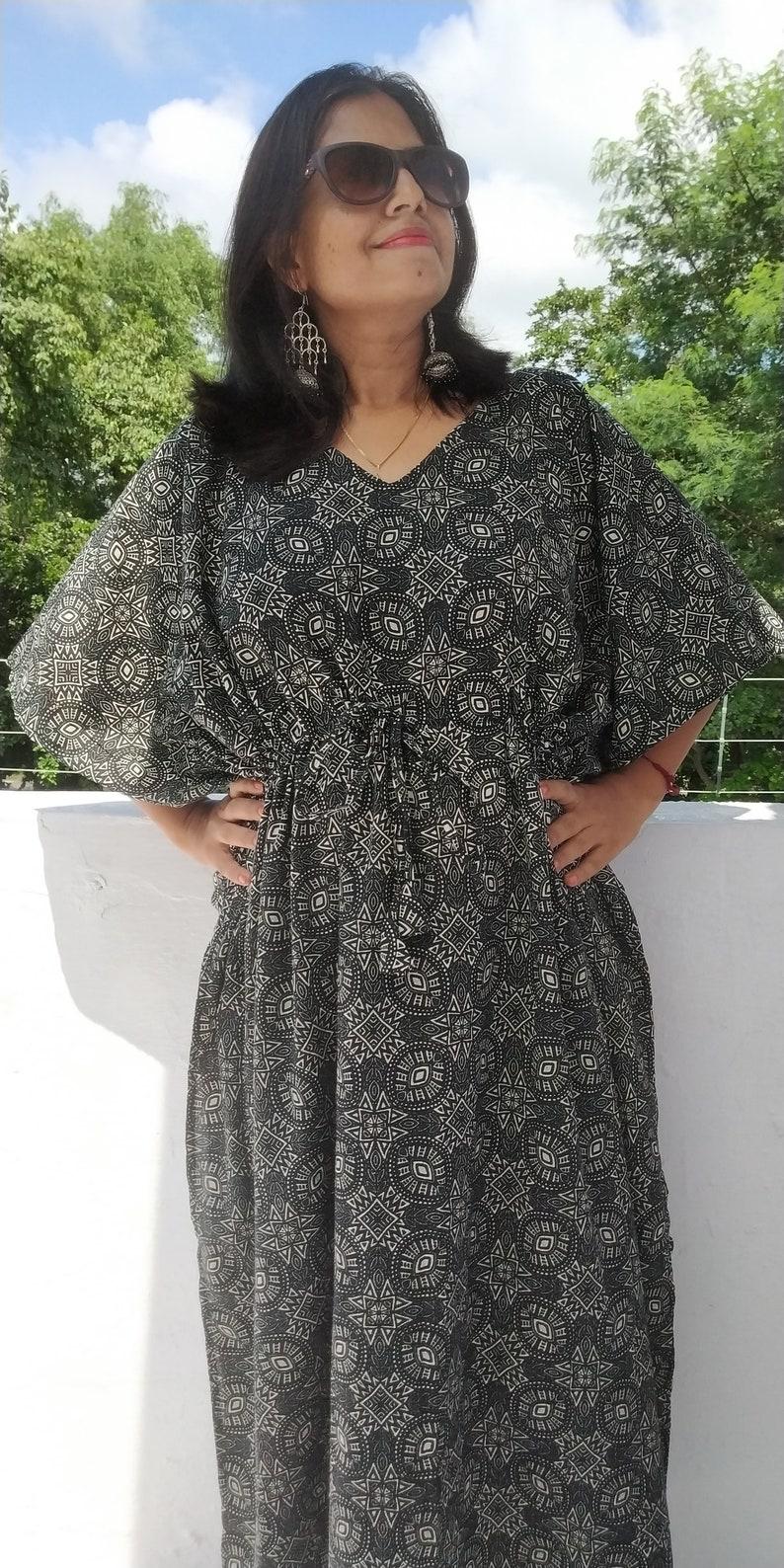 b78935fb60 Black geometric Kaftan Summer Evening dress Oversized long | Etsy