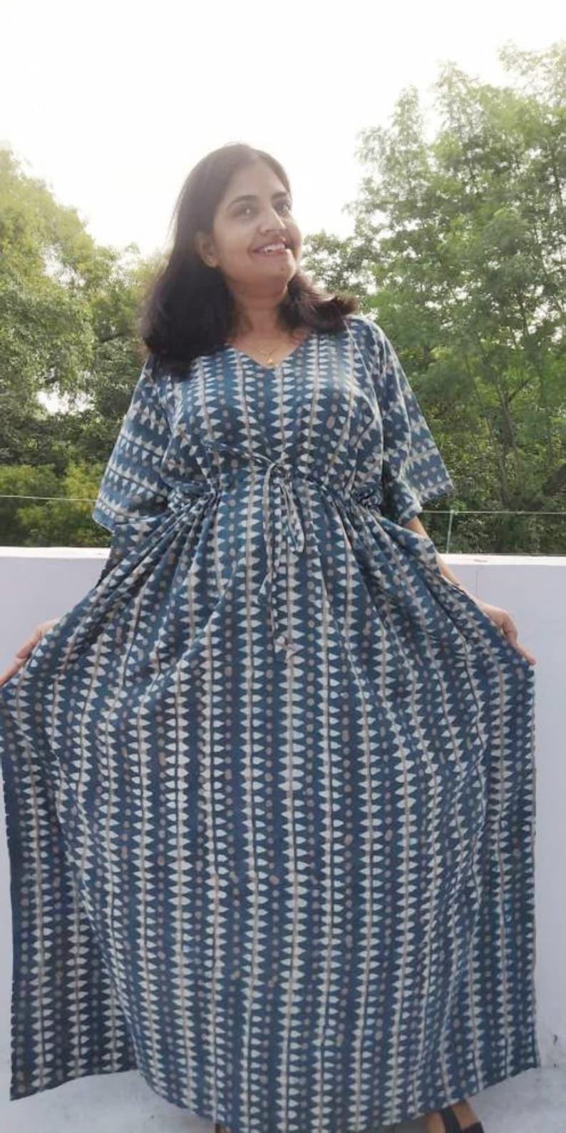 bf365306b82 Cotton Kimono Robe Plus size maxi dress kaftan Indian hand