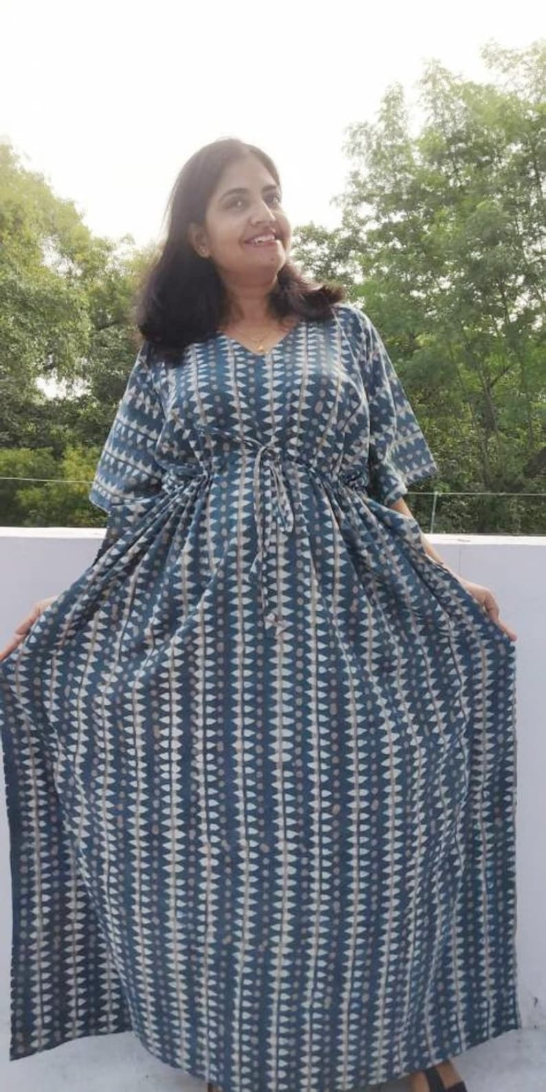 6560a75d66 Cotton Kimono Robe Plus size maxi dress kaftan Indian hand | Etsy