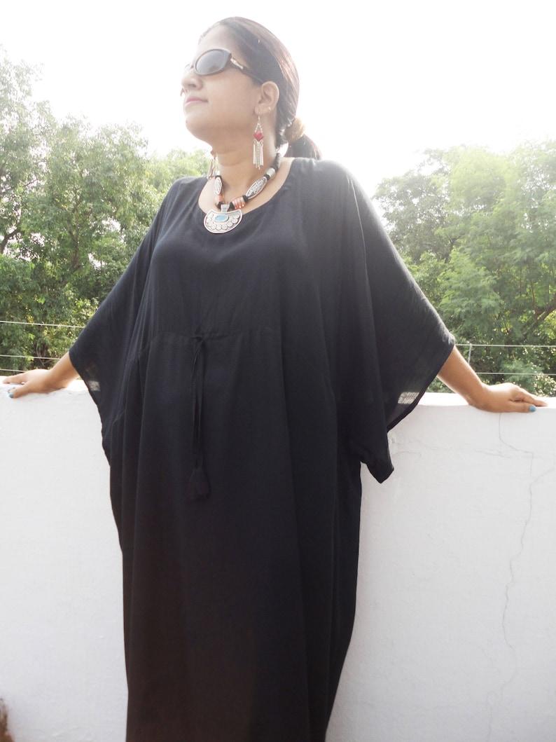 00459cb408f Plus size black kaftan black maxi dress Oversized dress